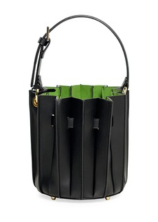 Sara Battaglia Leather Mini Plissé Bucket Bag