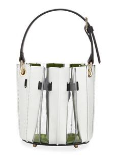 Sara Battaglia Mini Plisse Pleated Leather Bucket Bag