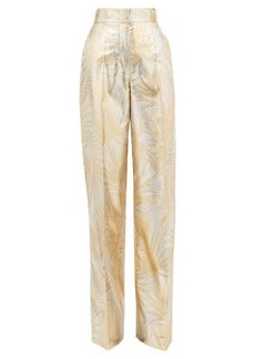 Sara Battaglia Palm-jacquard wide-leg lurex trousers