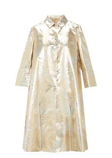 Sara Battaglia Palm-leaf brocade opera coat