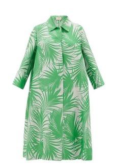 Sara Battaglia Palm leaf-jacquard cocoon coat