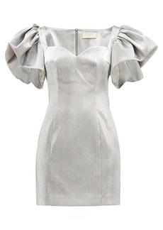 Sara Battaglia Puff-sleeved metallic mini dress