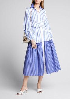 Sara Battaglia Striped Cotton Shirtdress