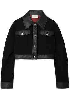 Sara Battaglia Woman Cropped Faux Leather-trimmed Wool-crepe Jacket Black