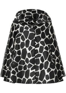 Sara Battaglia Woman Satin-jacquard Hooded Jacket Black