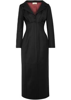 Sara Battaglia Woman Split-front Wool-blend Twill Midi Dress Black