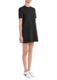 Sara Battaglia Short-Sleeve Trapeze Dress
