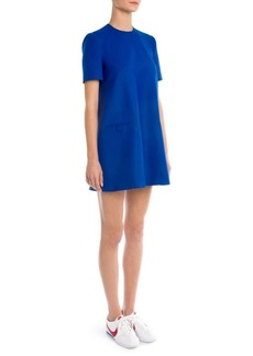 Sara Battaglia Short-Sleeve Trapeze Dress