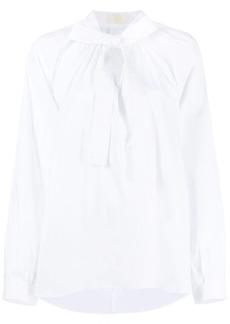 Sara Battaglia tied-neck long-sleeved blouse