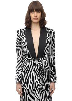 Sara Battaglia Zebra Printed Velvet Blazer