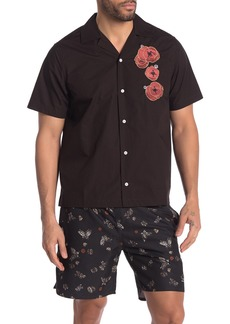 Saturdays NYC Canty Opium Floral Embroidered Shirt