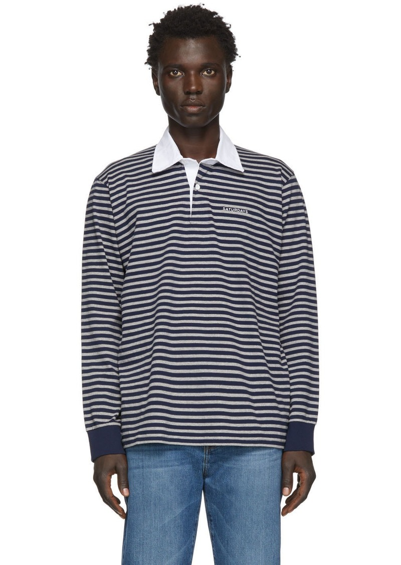 Saturdays NYC Grey & Navy Sanders Striped Polo