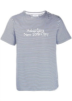 Saturdays NYC logo embroidered striped T-shirt