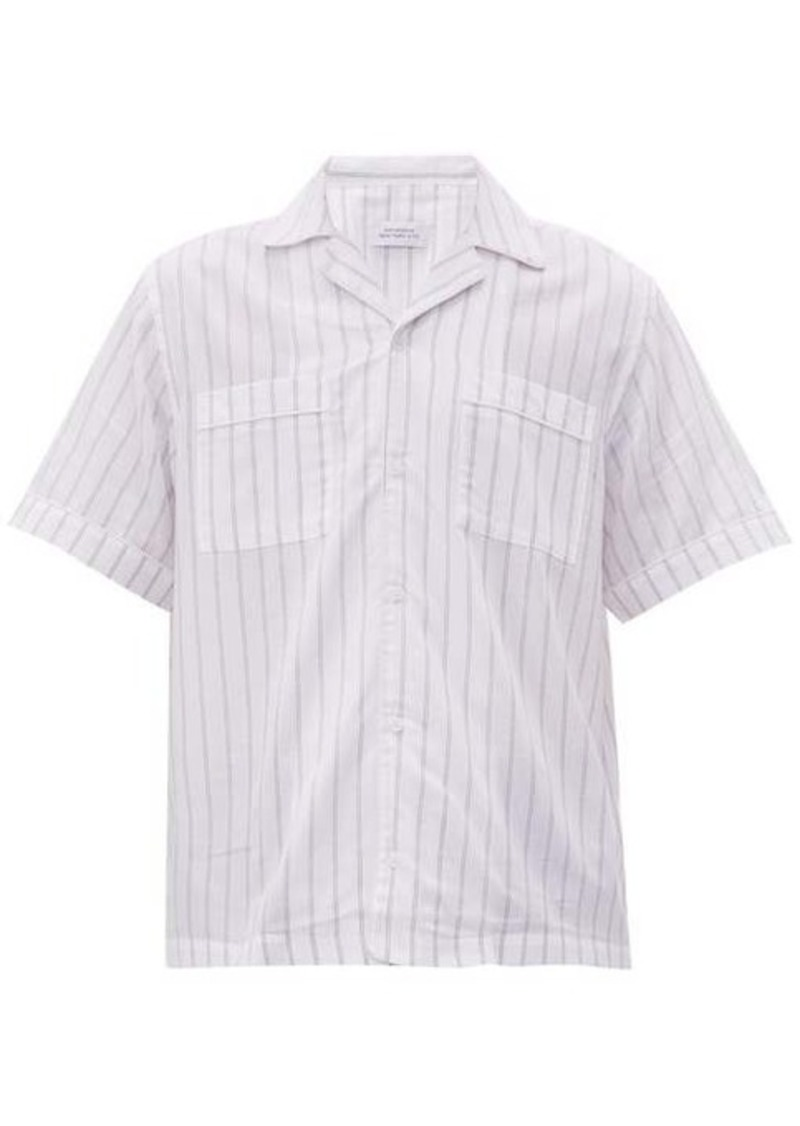 Saturdays NYC Cameron striped short-sleeved cotton-blend shirt