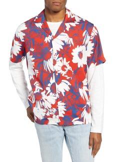 Saturdays NYC Canty Daisy Print Short Sleeve Button-Up Camp Shirt