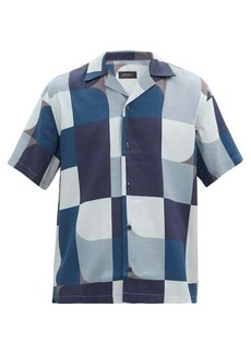 Saturdays NYC Canty Geoblock-print lyocell shirt