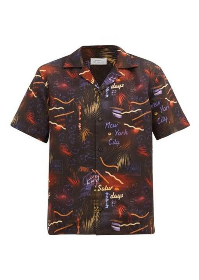 Saturdays NYC Canty Midnight Paradise-print twill shirt