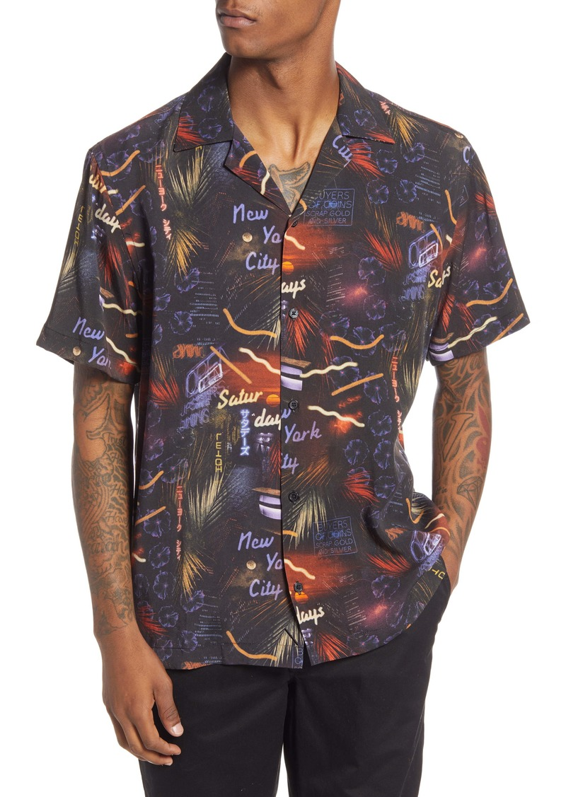 Saturdays NYC Canty Midnight Paradise Short Sleeve Button-Up Camp Shirt