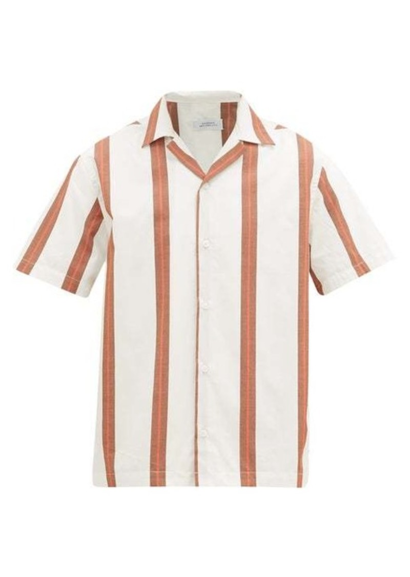 Saturdays NYC Canty striped Cuban-collar cotton shirt