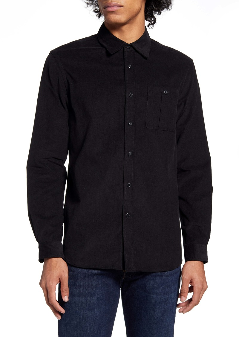 Saturdays NYC Mott Black Button-Up Corduroy Shirt