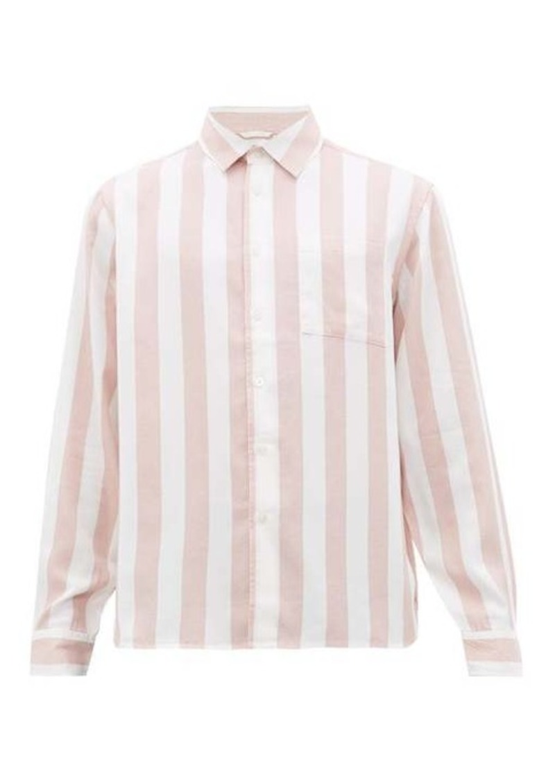 Saturdays NYC Perry candy-striped patch-pocket lyocell shirt