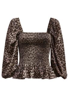Saylor Adelina Smocked Leopard Satin Top