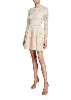 Saylor Corded Lace Long-Sleeve Mini Dress with Open Back