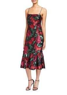 Saylor Deidre Floral Sequin Slip Dress
