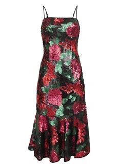 Saylor Deirdre Floral Sequin Dress