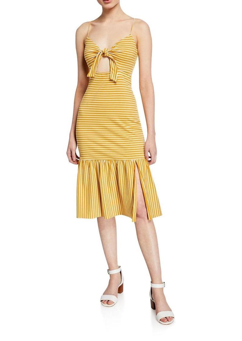 Saylor Doris Striped Tie-Front Sleeveless Midi Dress
