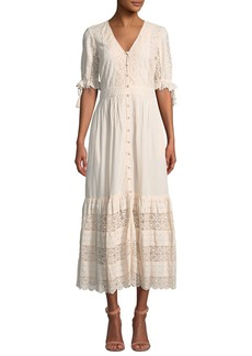 Saylor Emi Button-Down Striped Lace Dress