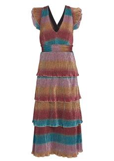 Saylor Marika Striped Plissé Midi Dress