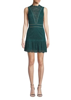 Saylor Rosemary Lace Open-Back Mini Dress