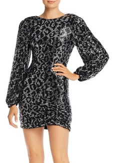 Saylor Sequined Leopard Long Sleeve Mini Dress