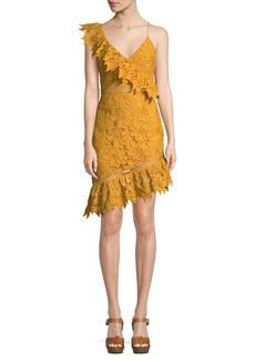 Saylor Sophia Asymmetric Lace Mini Dress