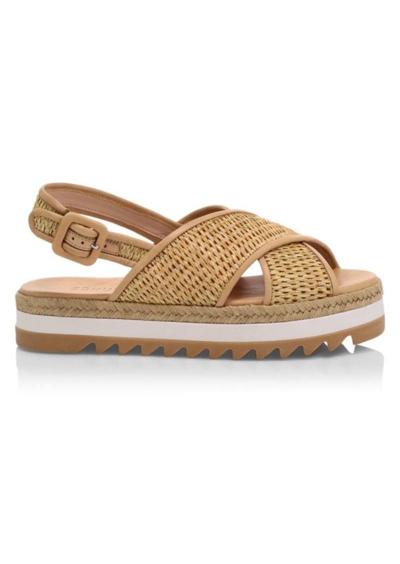 SCHUTZ Aiyana Raffia Espadrille Flatform Sandals