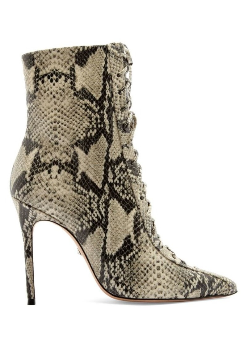 SCHUTZ Anaiya Lace-Up Snakeskin-Embossed Leather Boots