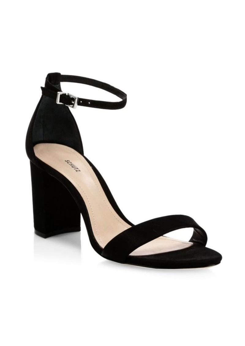 SCHUTZ Anna Lee Ankle-Strap Suede Sandals