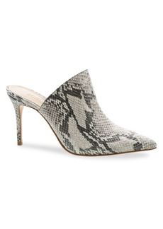 SCHUTZ Bardot Snake-Embossed Leather Stilleto Mules