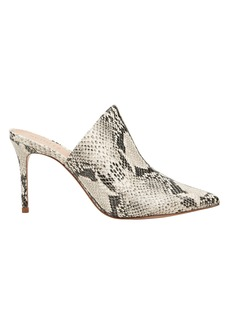 SCHUTZ Bardot Snake Embossed Leather Mules