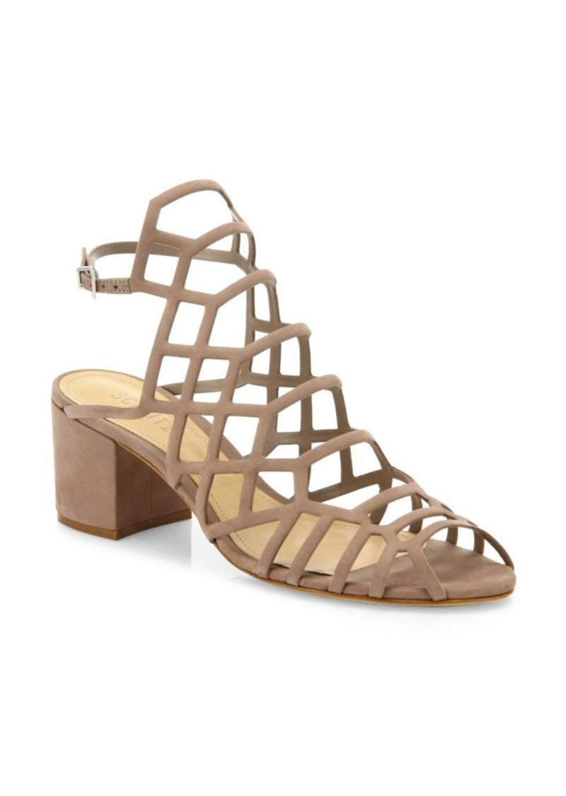 b4f164c76df SCHUTZ Bollie Suede Caged Block Heel Sandals