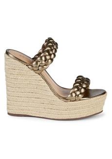 SCHUTZ Dyandre Leather Wedge Espadrille Sandals