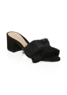 SCHUTZ Elza Black Fringed Suede Sandals