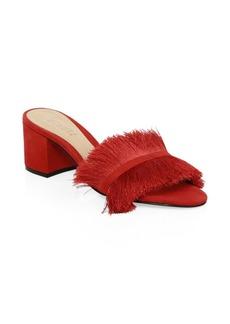 SCHUTZ Elza Red Fringed Suede Sandals
