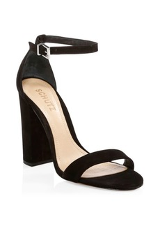 SCHUTZ Enida Suede Ankle Strap Sandals