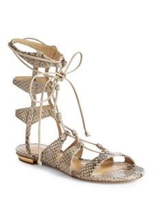 SCHUTZ Erlina Leather Snake-Print Gladiator Sandals