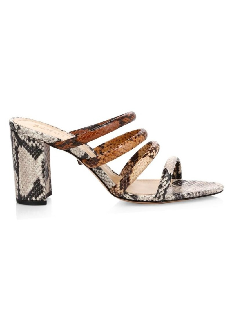 SCHUTZ Felisa Strappy Snakeskin-Embossed Leather Mules