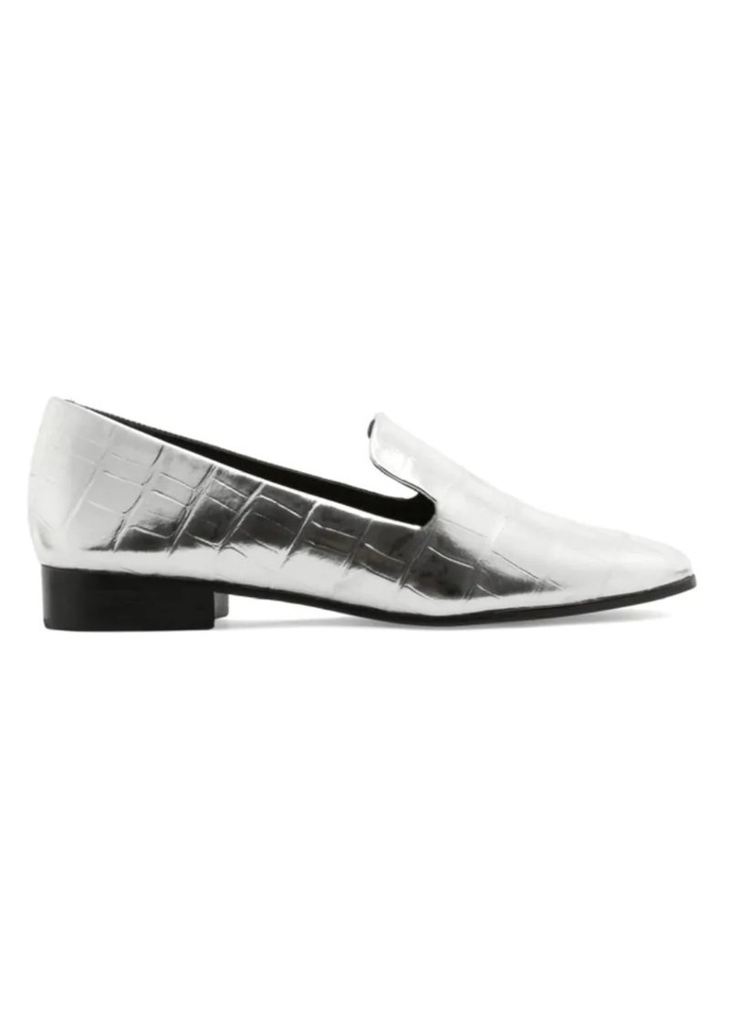 SCHUTZ Flor Croc-Embossed Metallic Leather Loafers