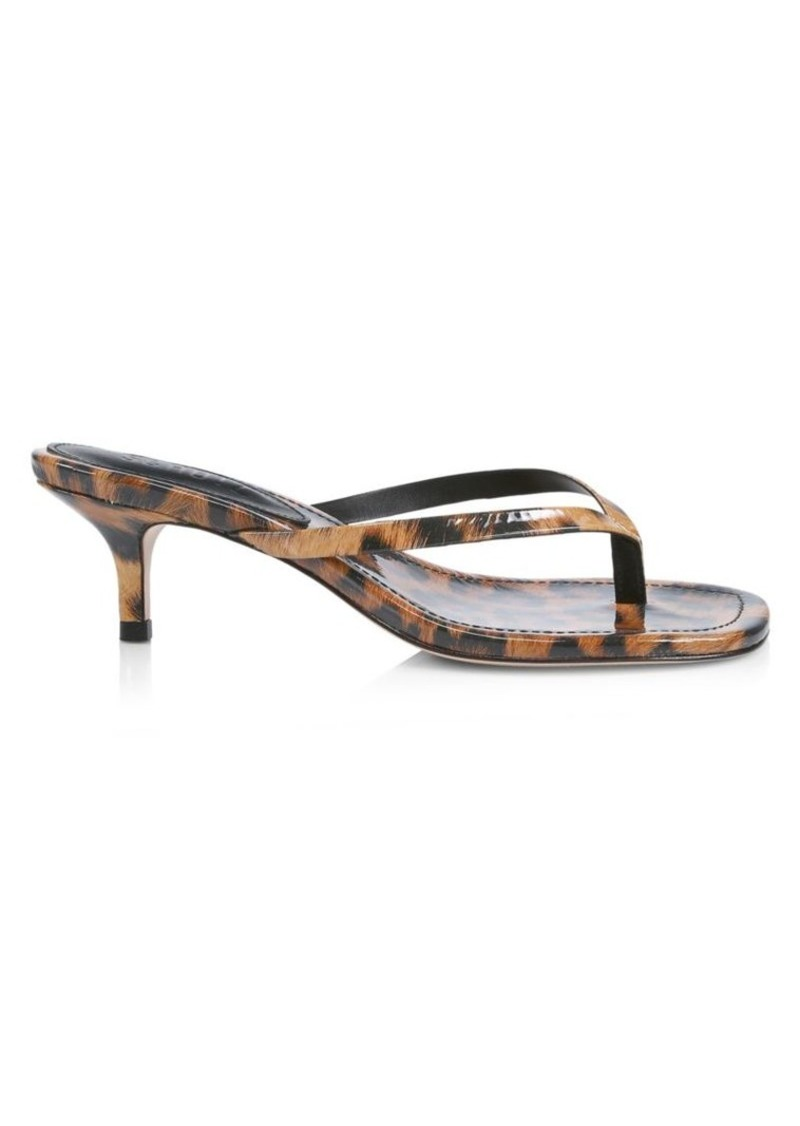 Ivone Leopard-Print Patent Leather Thong Sandals