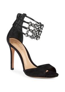 SCHUTZ Jenny Embellished Suede Sandals